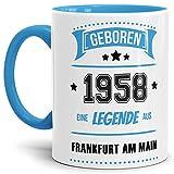 Tassendruck Geburtstags-Tasse Geboren 1958 Eine Legende aus Frankfurt am Main Innen & Henkel Hellblau/Geschenk/mit Spruch/Mug/Cup/Becher/Qualität Made in Germany