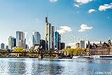 Alu-Dibond-Bild 140 x 90 cm:Skyline von Frankfurt am Main im Frühling mit eisernem Steg, Deutschland, Europa, Bild auf Alu-Dibond